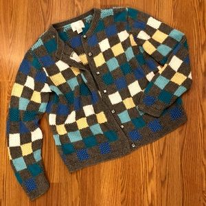 Knit Checker Button Up Cardigan